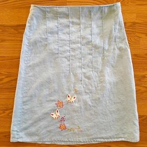 Light Blue Skirt with Embroidered Detail